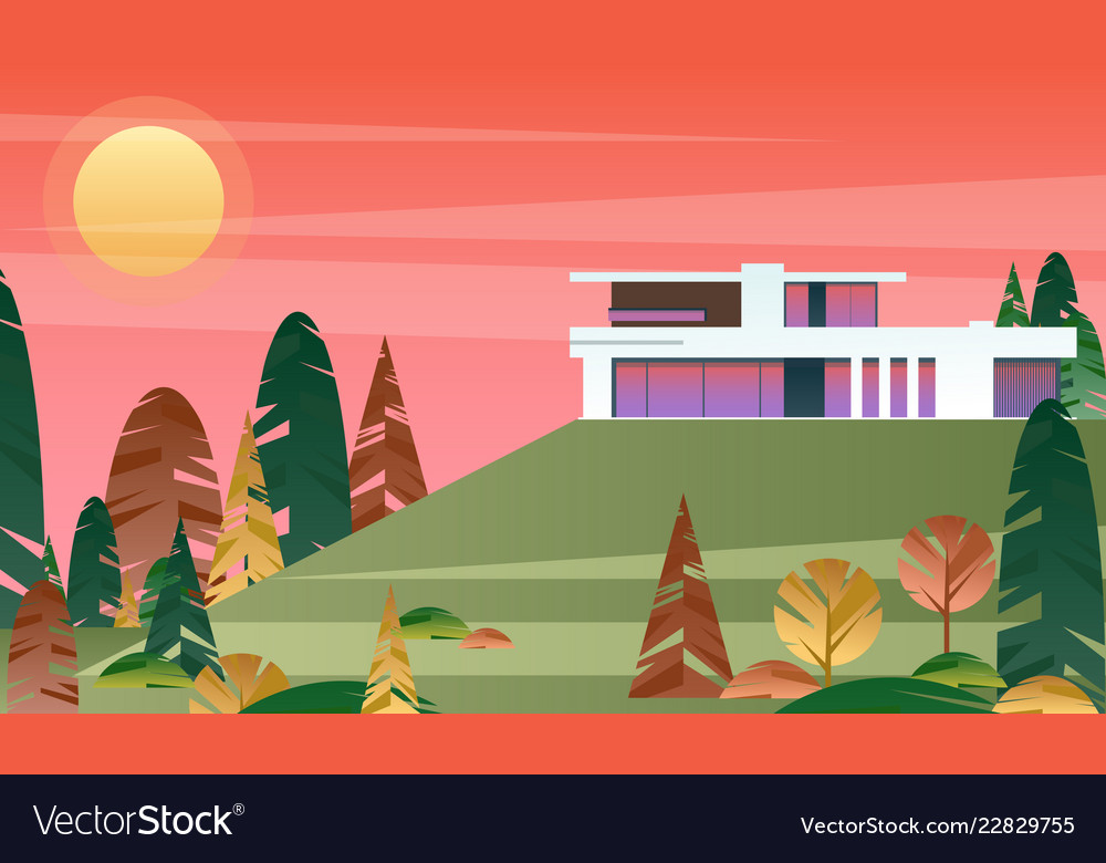 Beautiful modern cottage vector