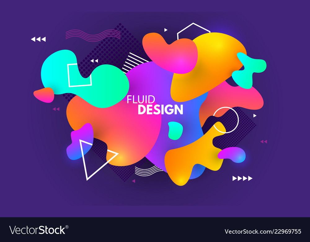 Color Shapes Design Fluid Abstract Background