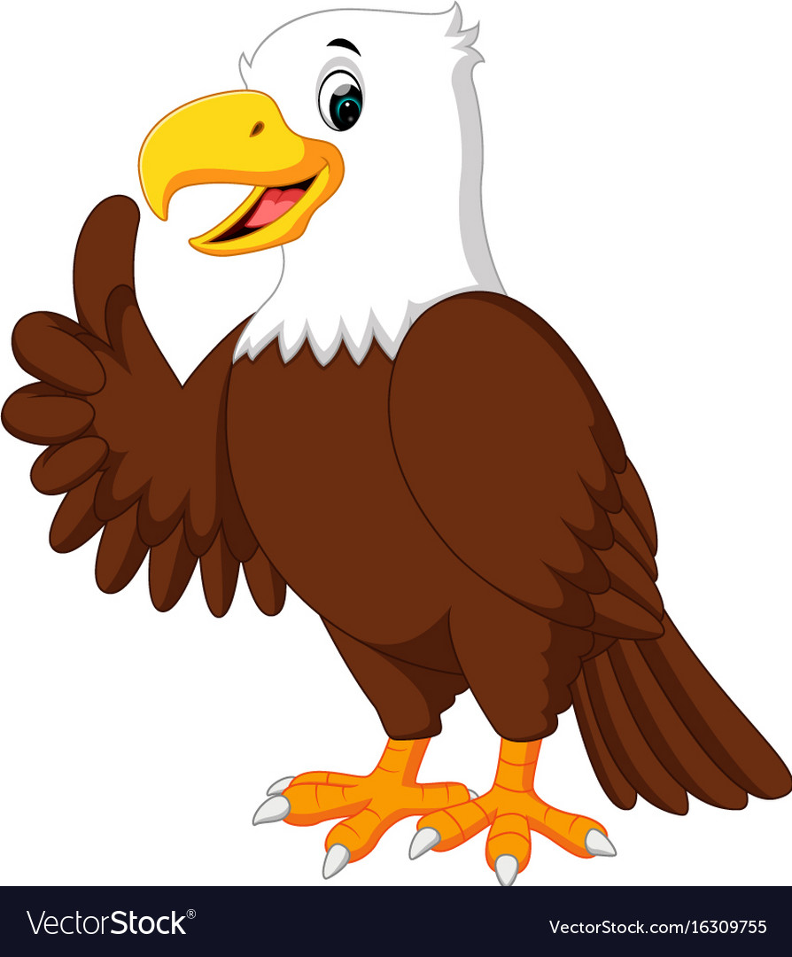 cute eagle cartoon royalty free vector image vectorstock rh vectorstock com american eagle cartoon images cartoon eagle pictures free