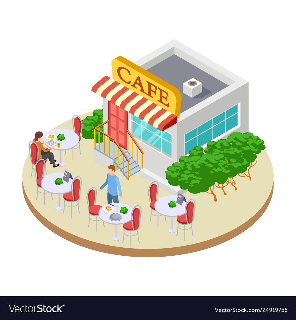 Cute Summer Street Small Cafe With Outside Tables Vector Image