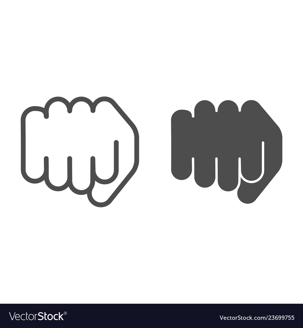 Fist line and glyph icon forward punch