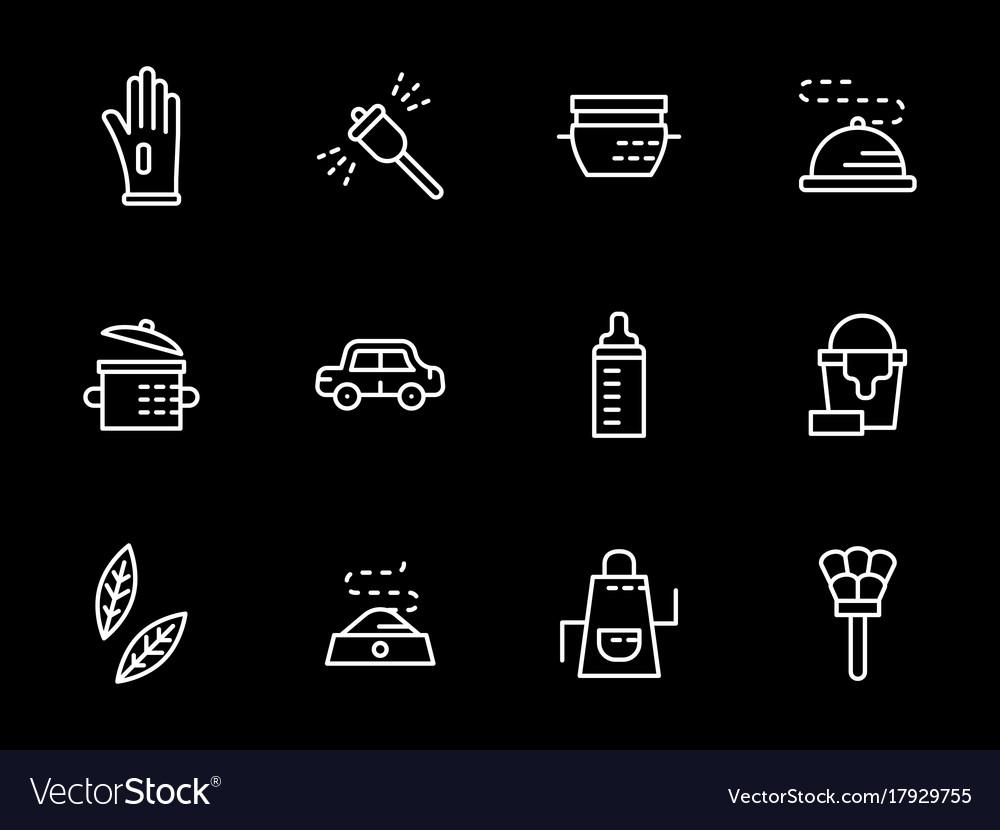 Household tasks white line icons set