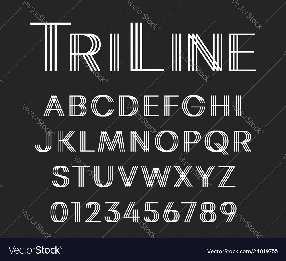 Line font template letters and numbers linear