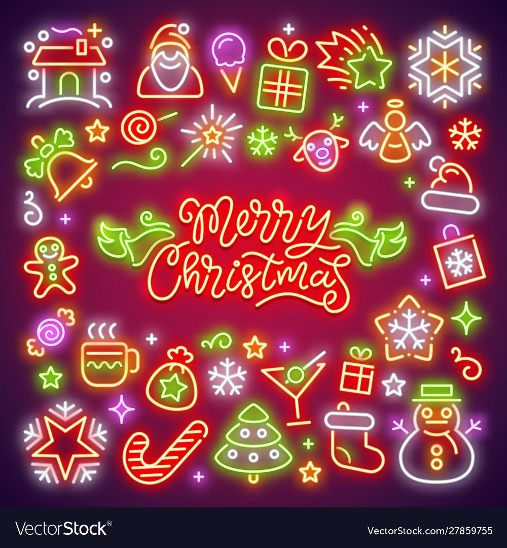 Merry christmas neon icons set vector