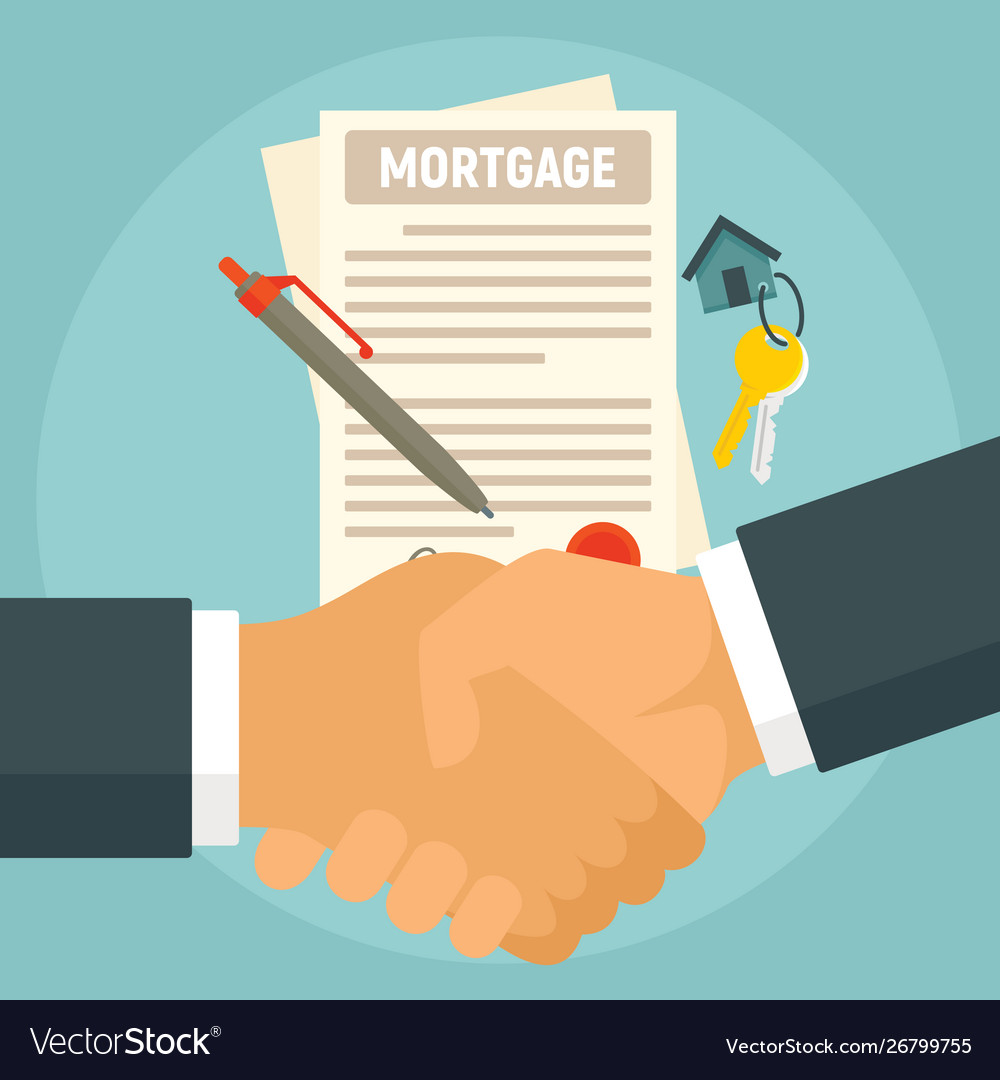 Mortgage Concept Banner Flat Style Royalty Free Vector Image