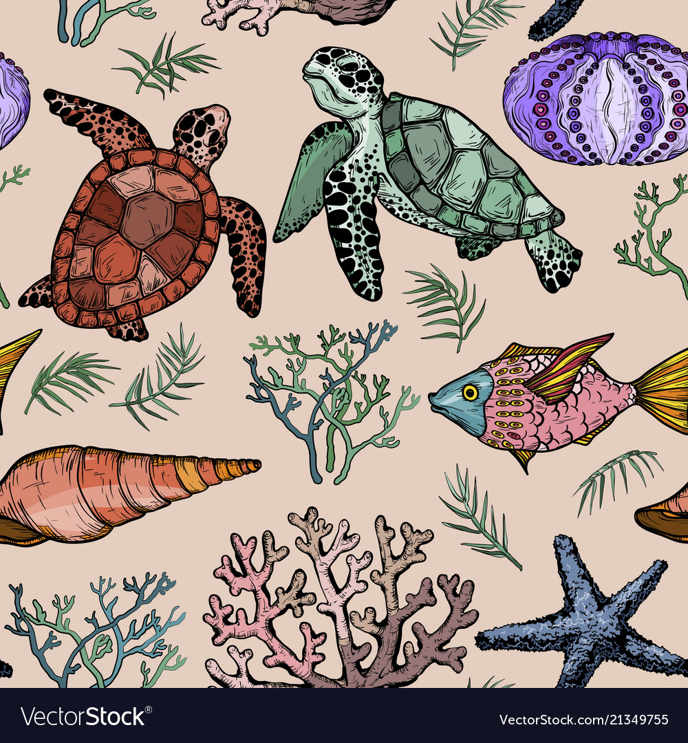 Seamless pattern with ocean life organisms