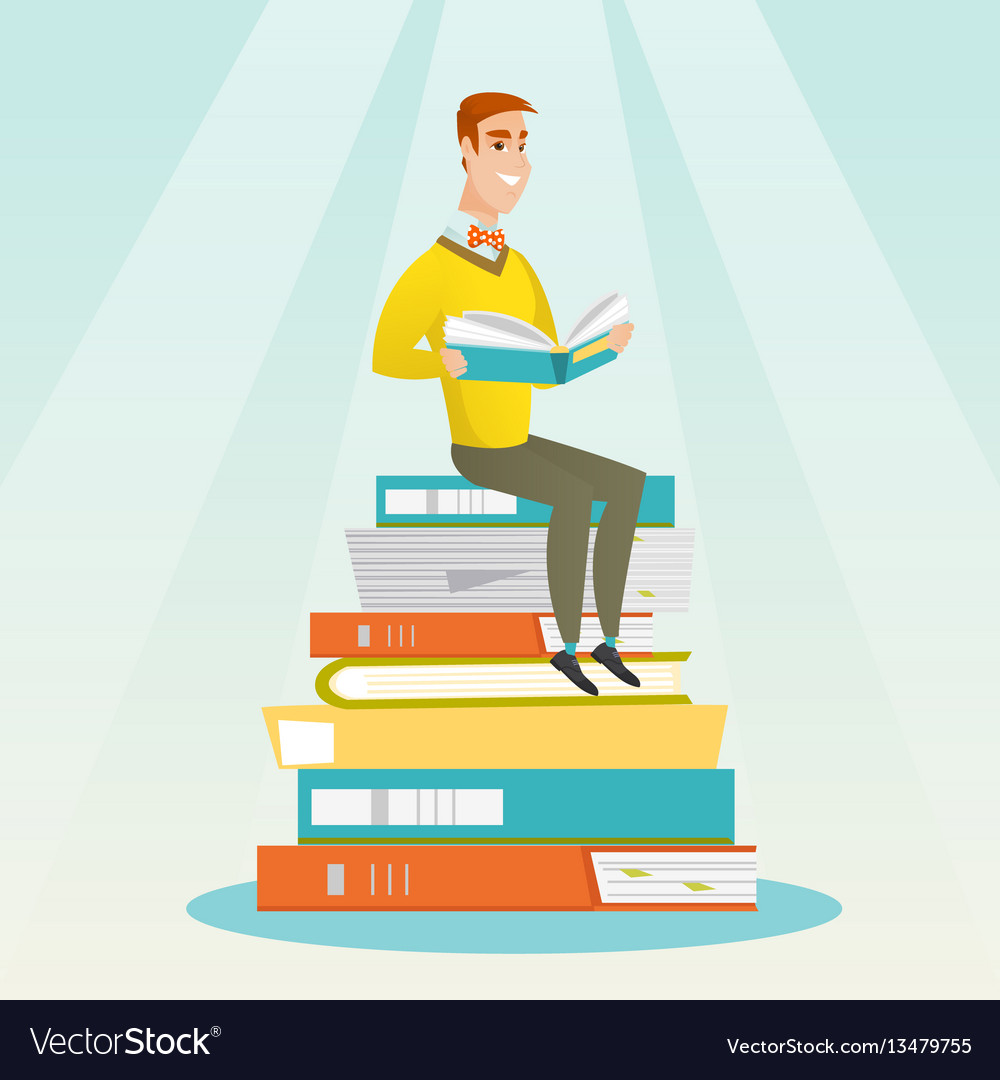 Student sitting on huge pile of books