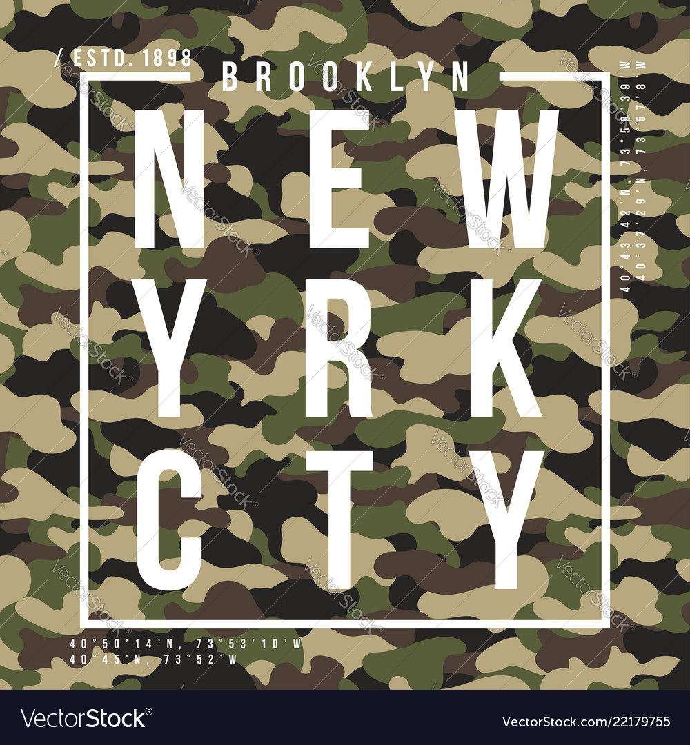 T-shirt design with camouflage texture new york