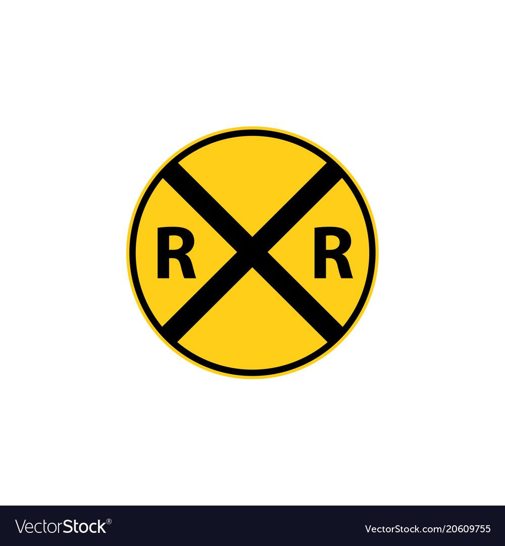 Usa traffic road sign railroad crossing ahead