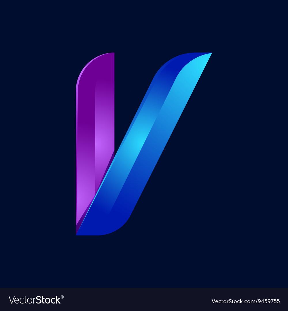 V letter volume blue and purple color logo design