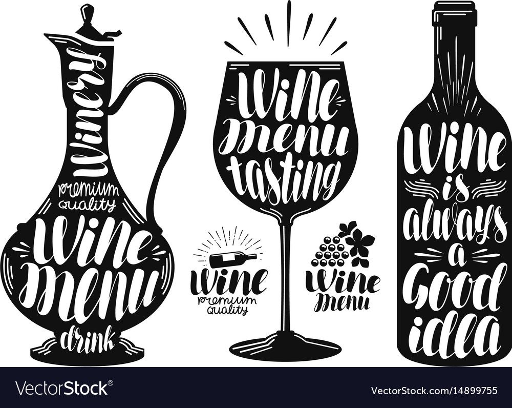 Wine winery label set decanter drink glass