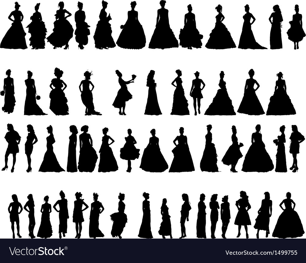 Women silhouettes in various dresses