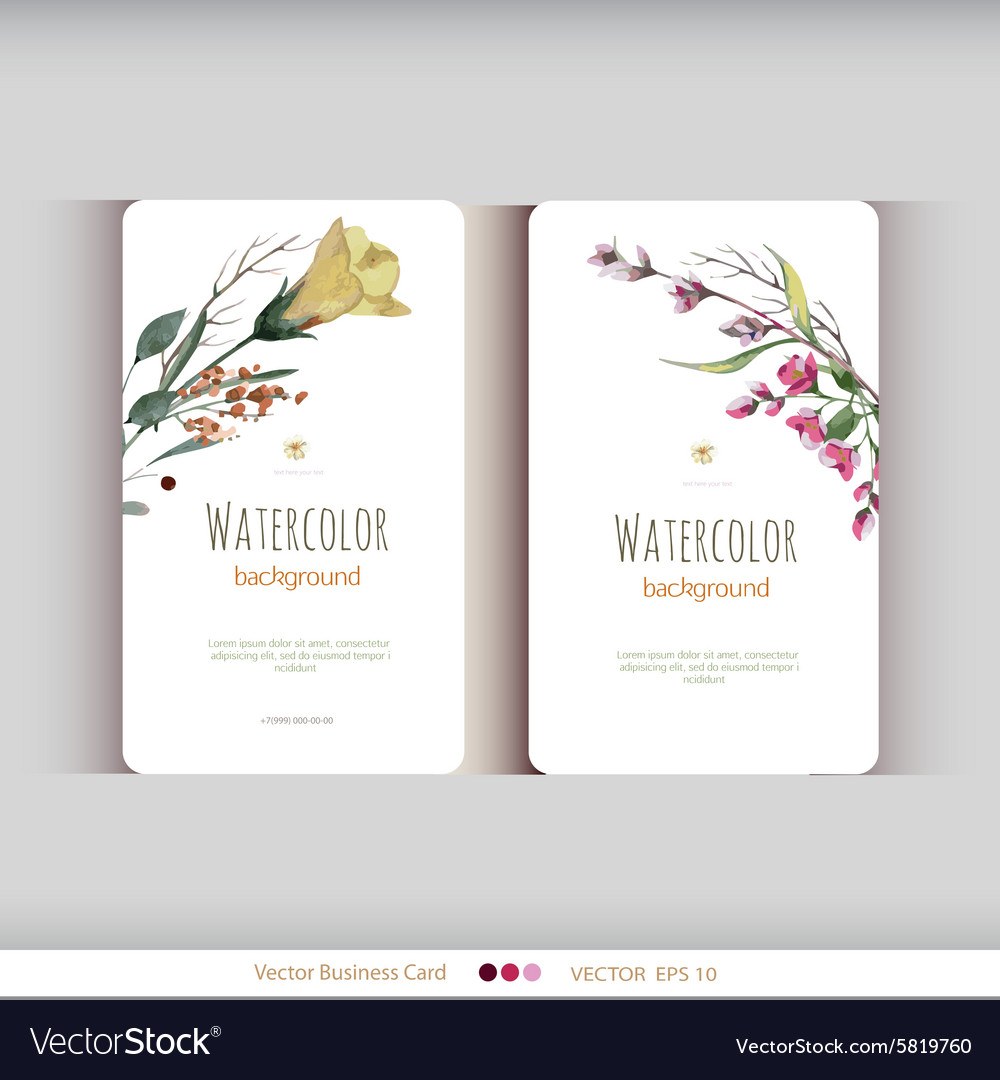 Abstract watercolor cards watercolor flowers