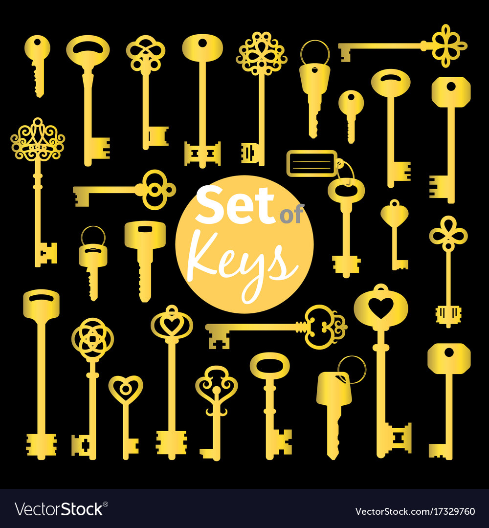 Antique and modern gold keys set