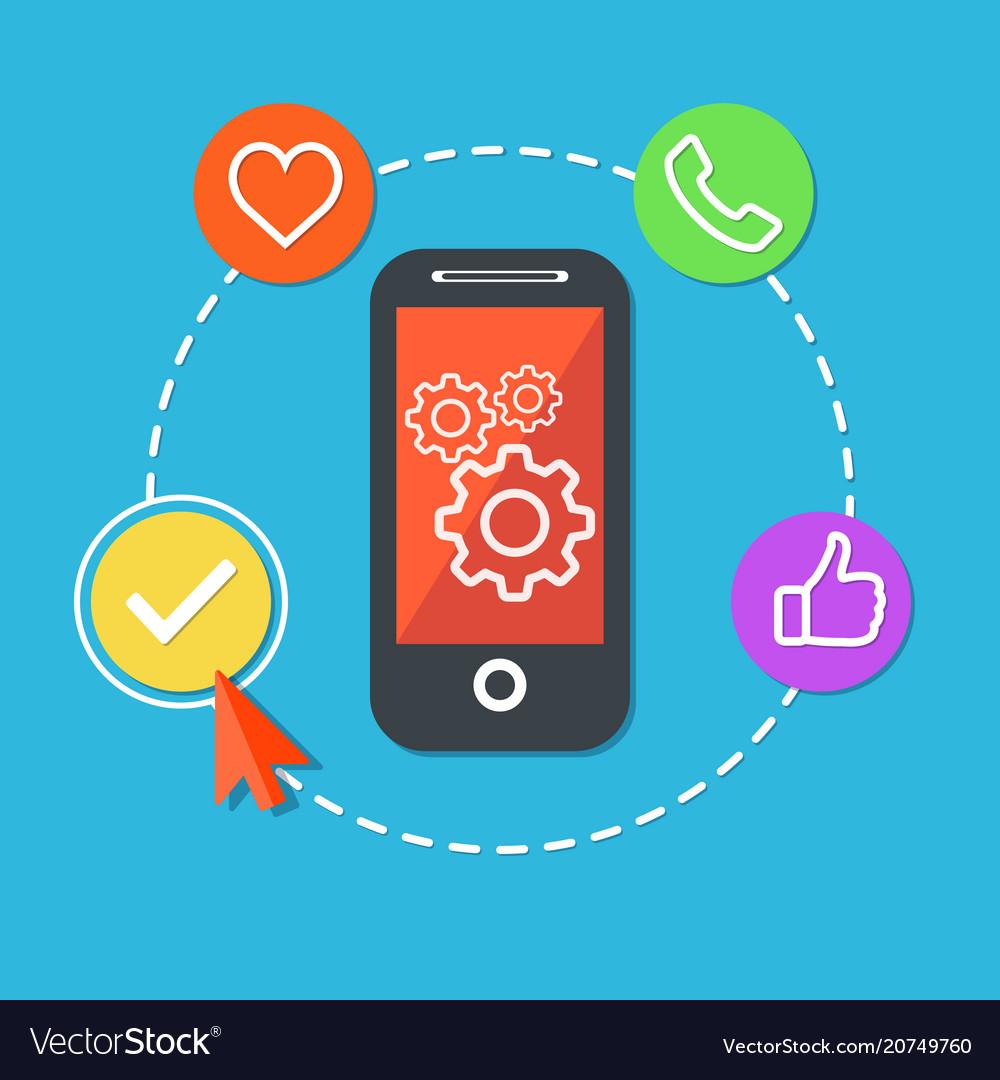 Application process development concept flat vector image