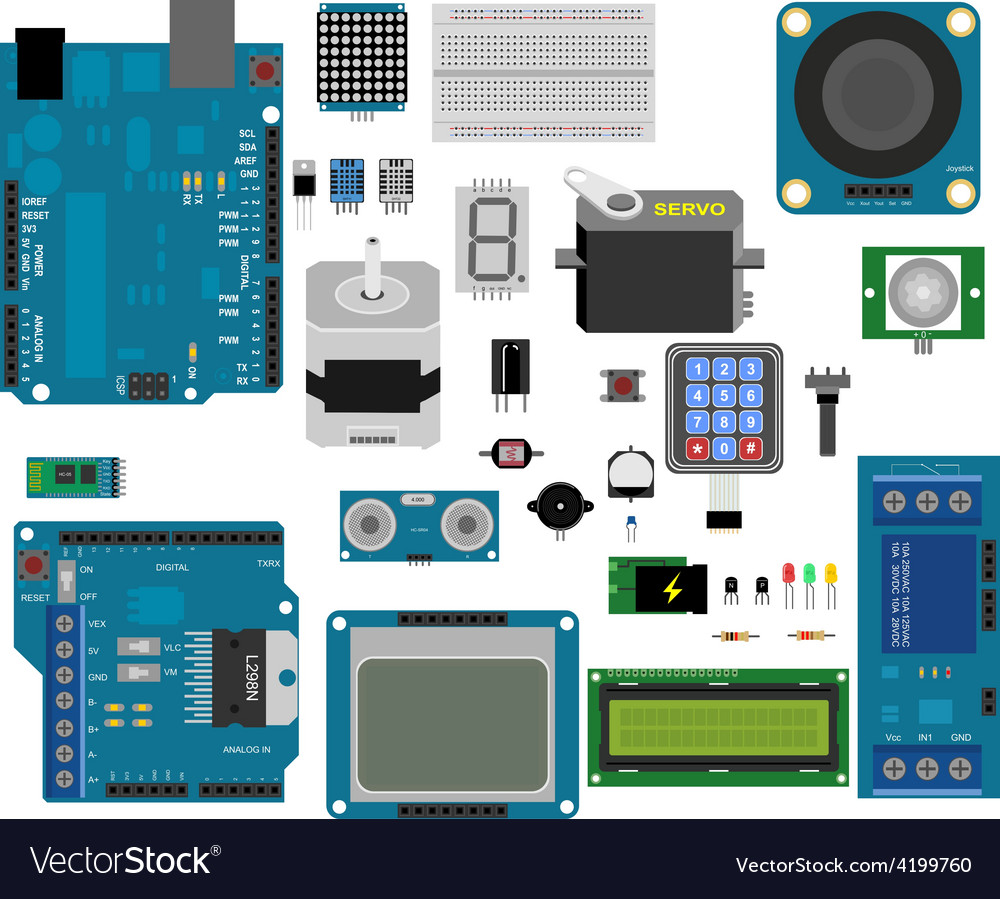 Arduino Electronic Elements Royalty Free Vector Image