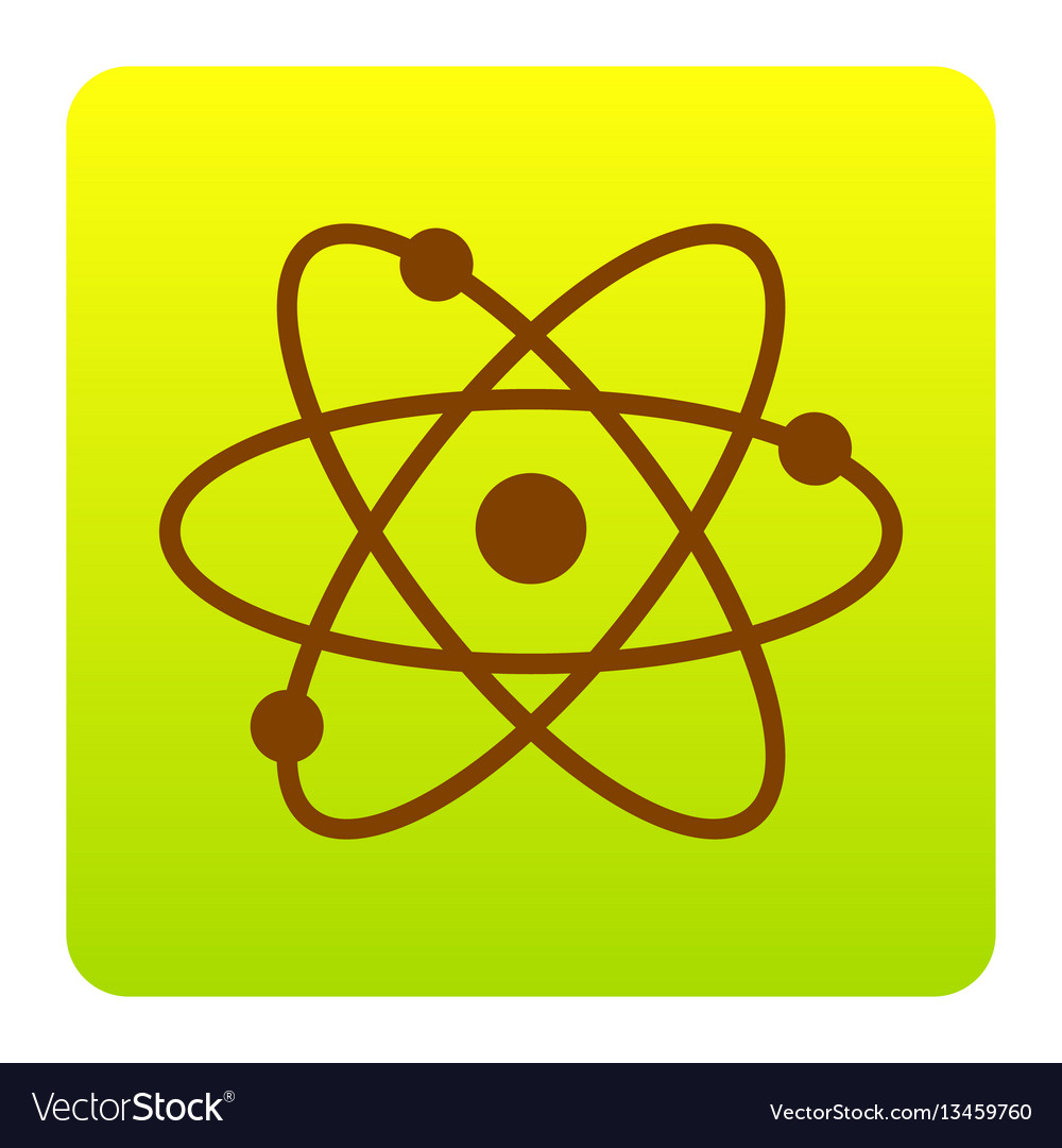 Atom sign brown icon at