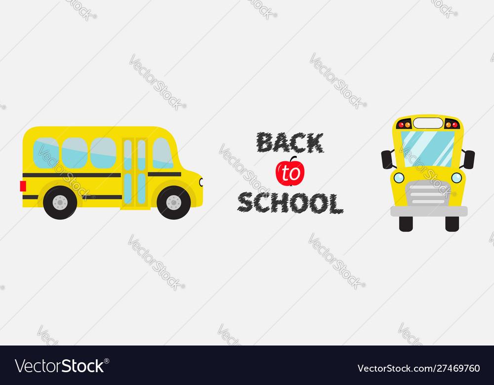Back to school yellow bus set line cartoon