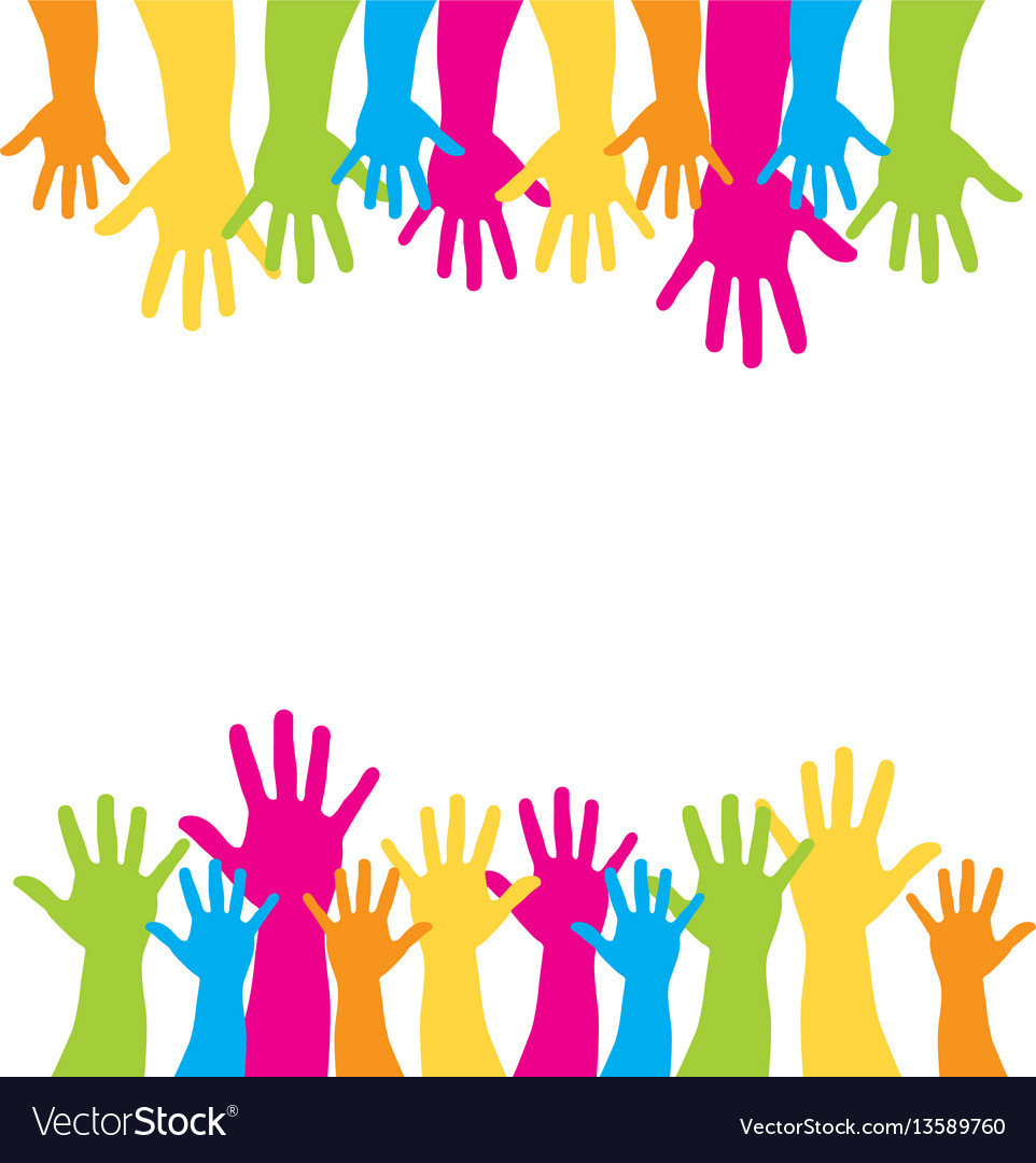Background with multicolor support hands vector image