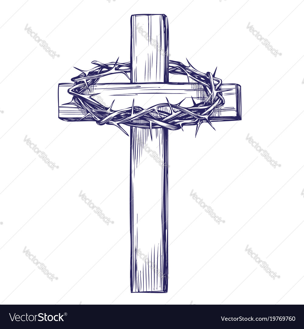 Crown of thorns wooden cross easter symbol of