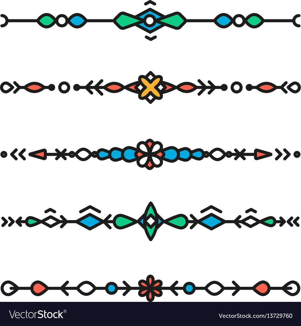 Decorative hipster geometric colorful dividers