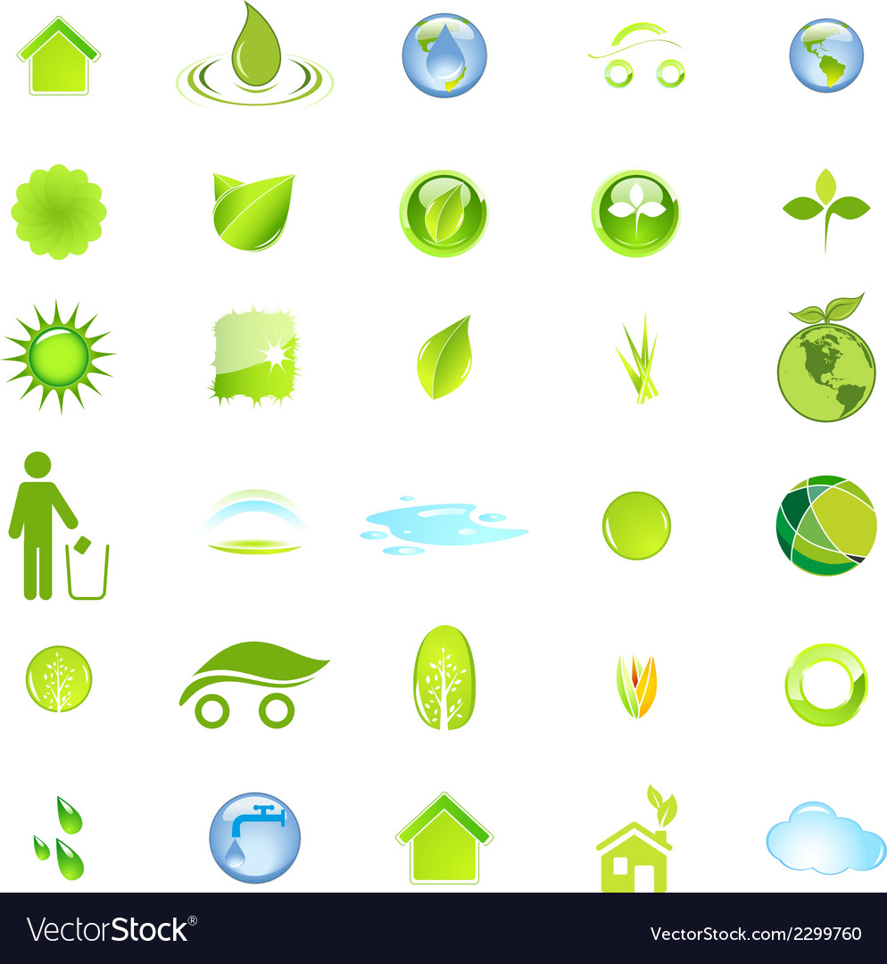 Ecology and Environment Icon Set In Format