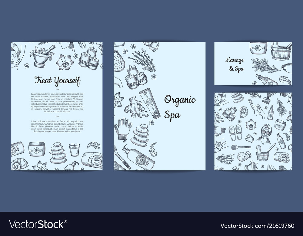 Hand drawn spa elements branding identity