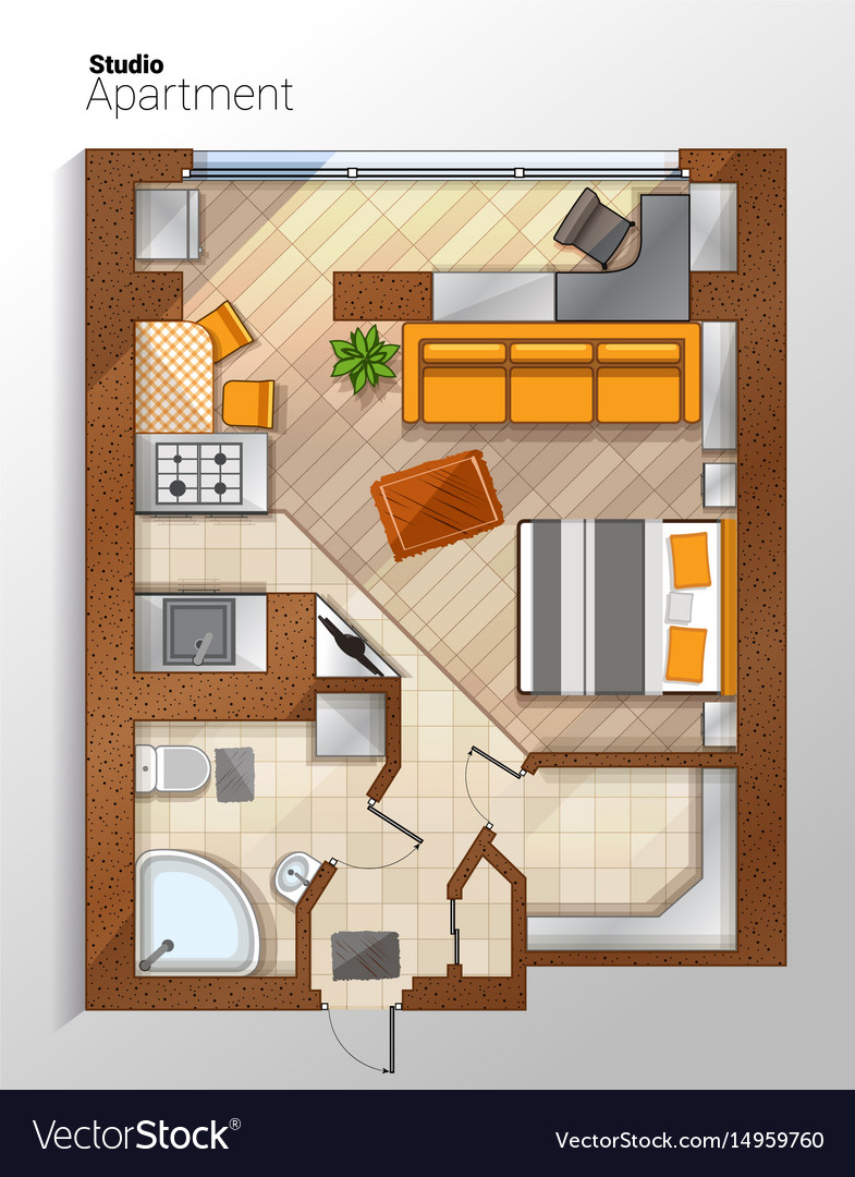 Modern Studio Apartment Top View