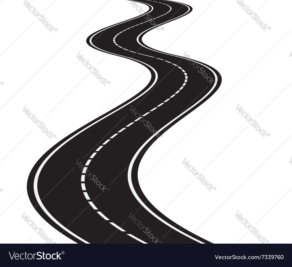 perspective of curved road royalty free vector image rh vectorstock com road vectorworks road vector art
