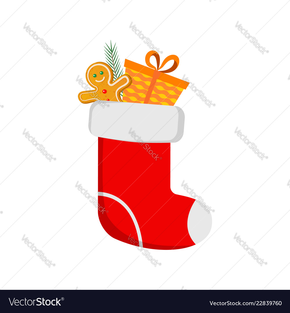 Red christmas sock and christmas gingerbread man