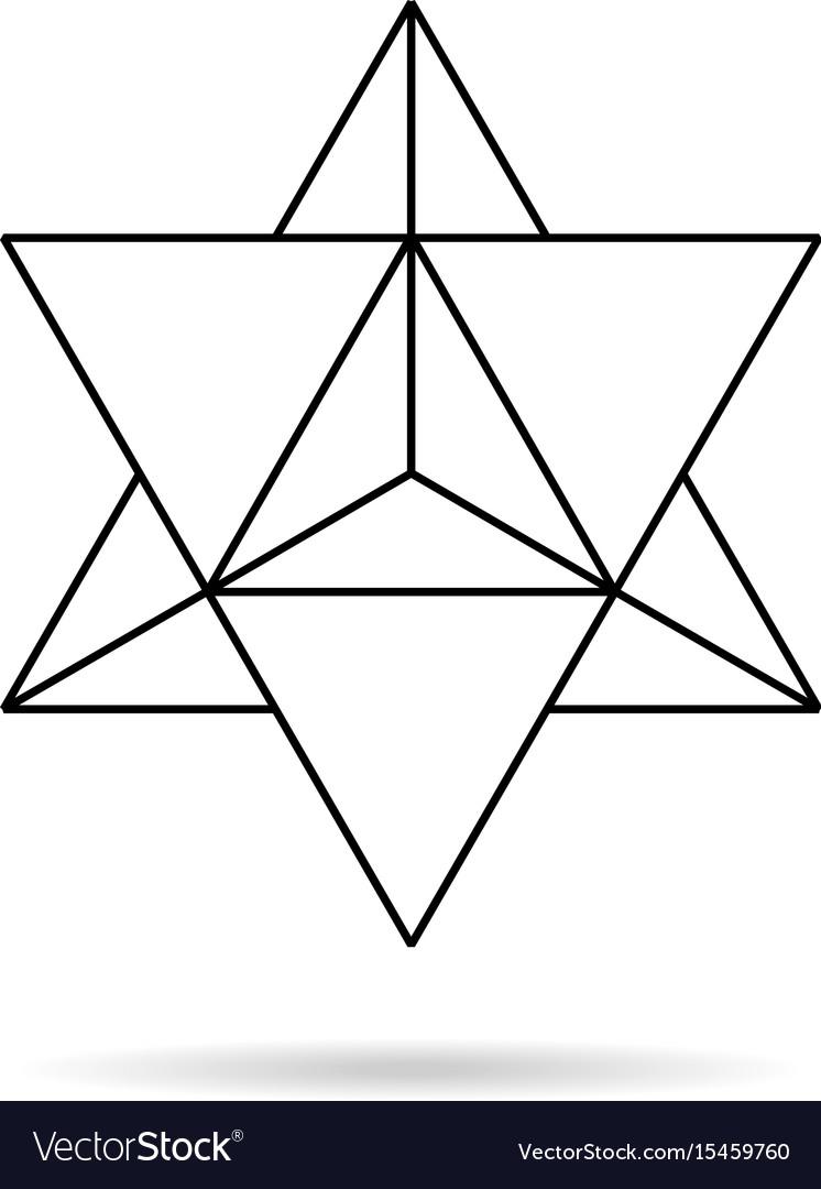 sacred geometry merkaba thin line geometric vector image