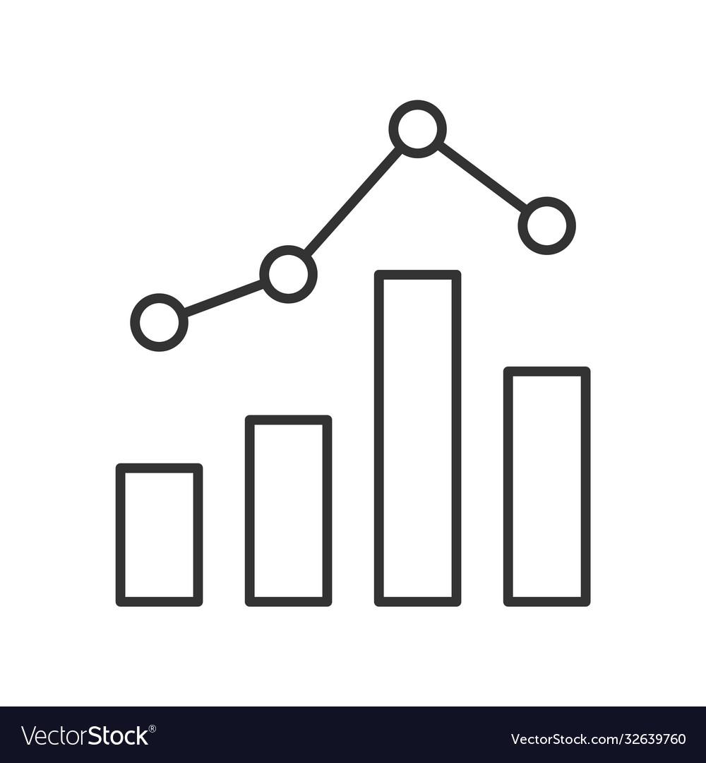 Statistics graph line icon on white background