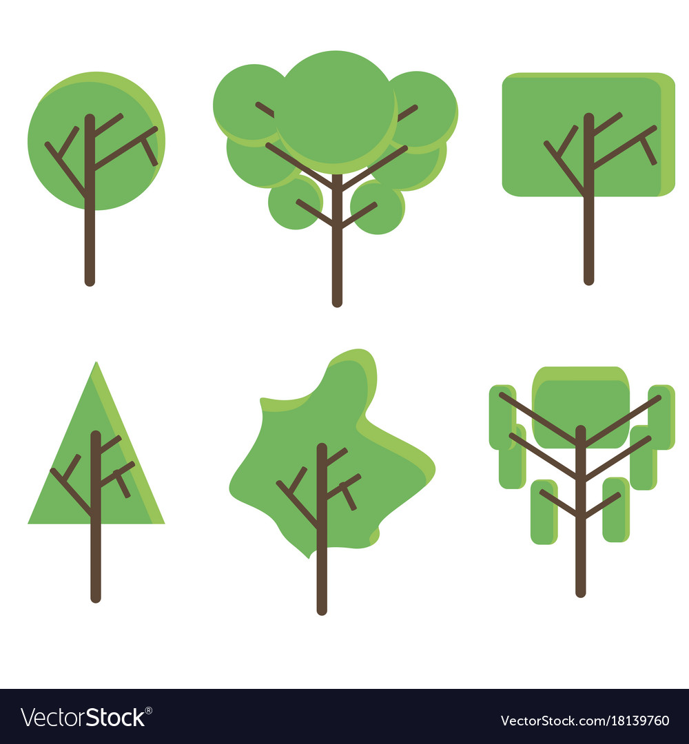 Tree set flat icon green plant botany design eco