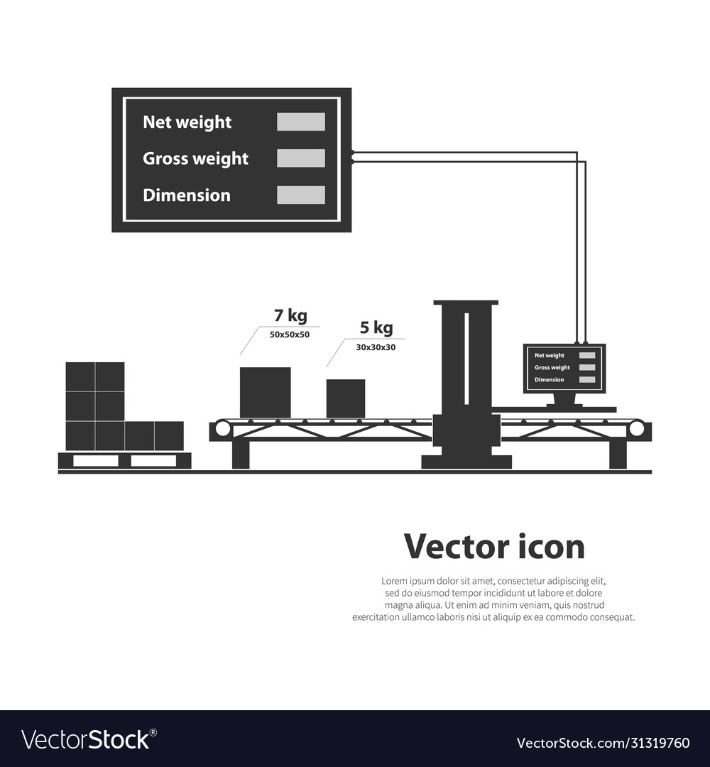 Volume And Weight Measuring System Royalty Free Vector Image