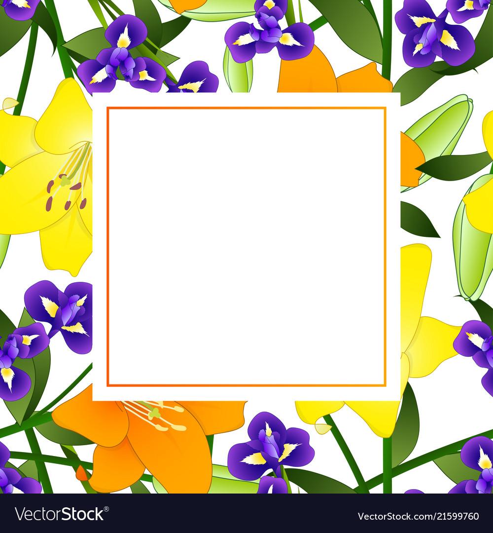 Yellow orange lily and blue iris flower banner
