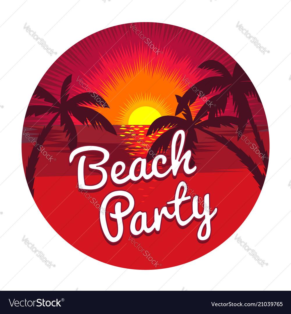 Beach party emblem