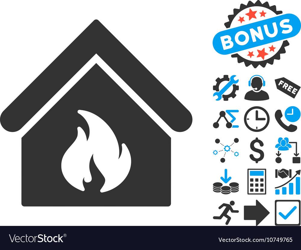 Building Fire Flat Icon with Bonus