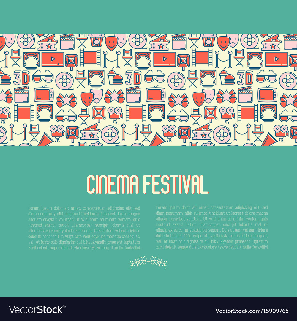 Cinema festival concept contains seamless pattern