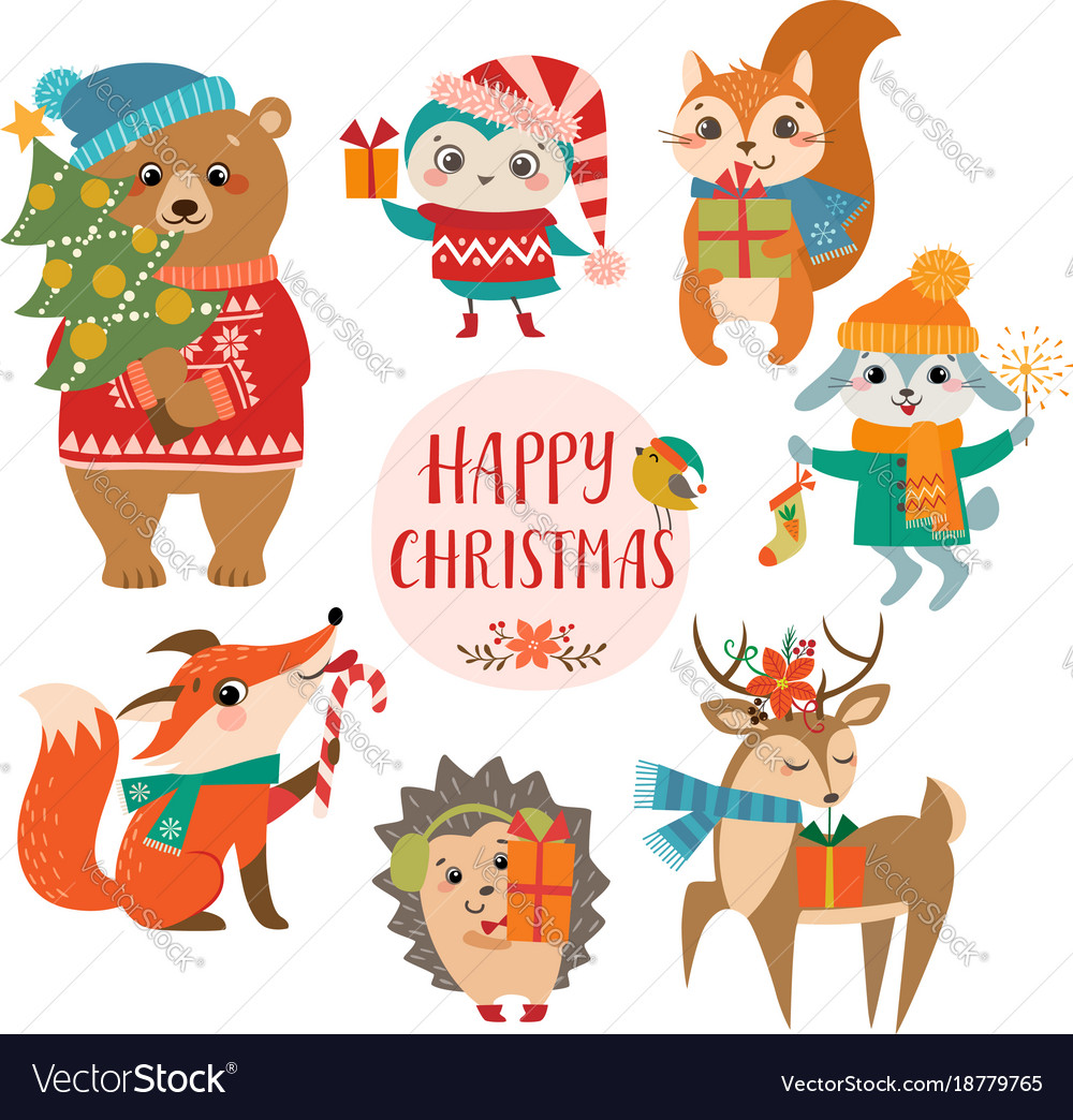 Cute Christmas Greetings Royalty Free Vector Image