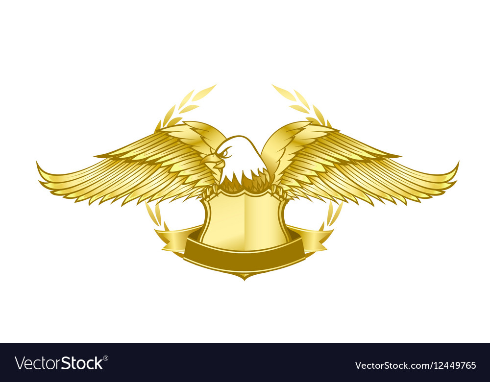 Eagle and badge symbol for logo and emblem design