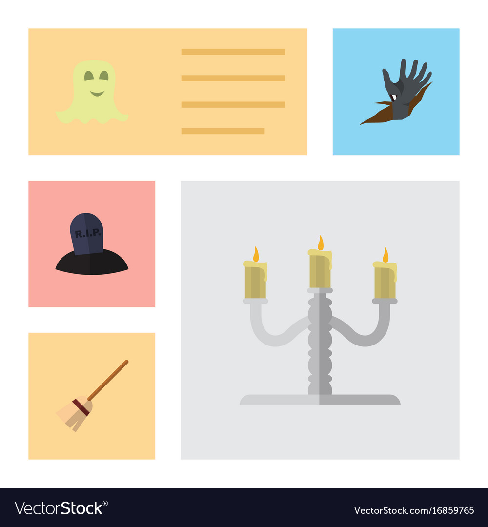 Flat icon halloween set of candlestick spirit