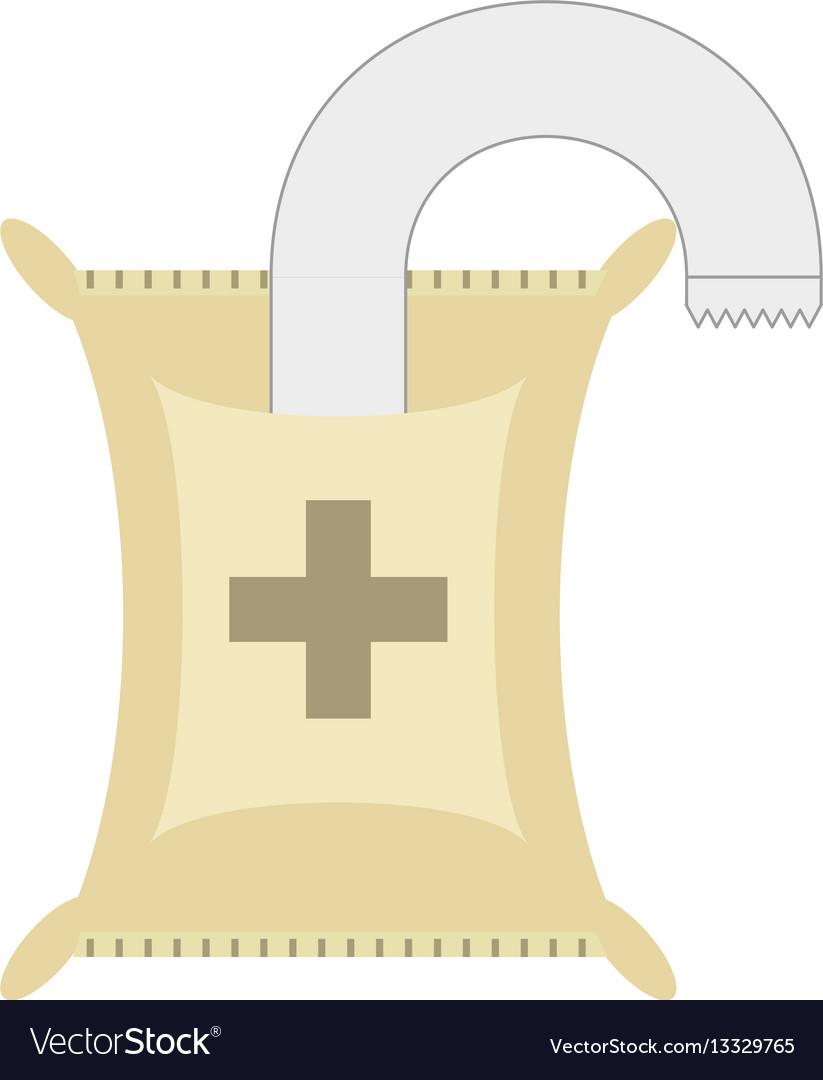 Iv medicine saline bag vector image
