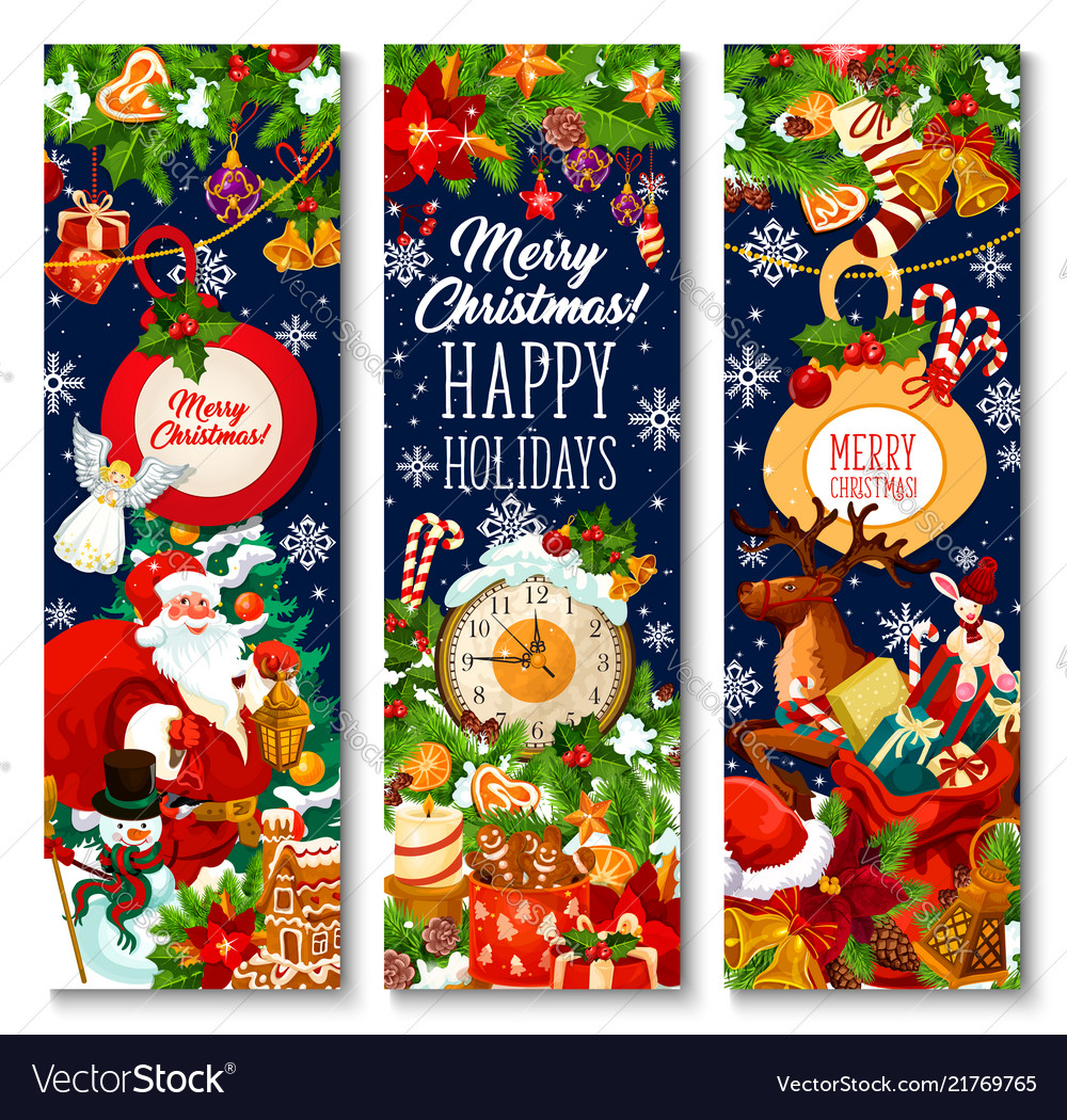 Merry christmas holiday greeting banners