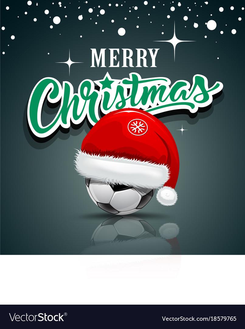 Merry christmas santa hat on soccer ball