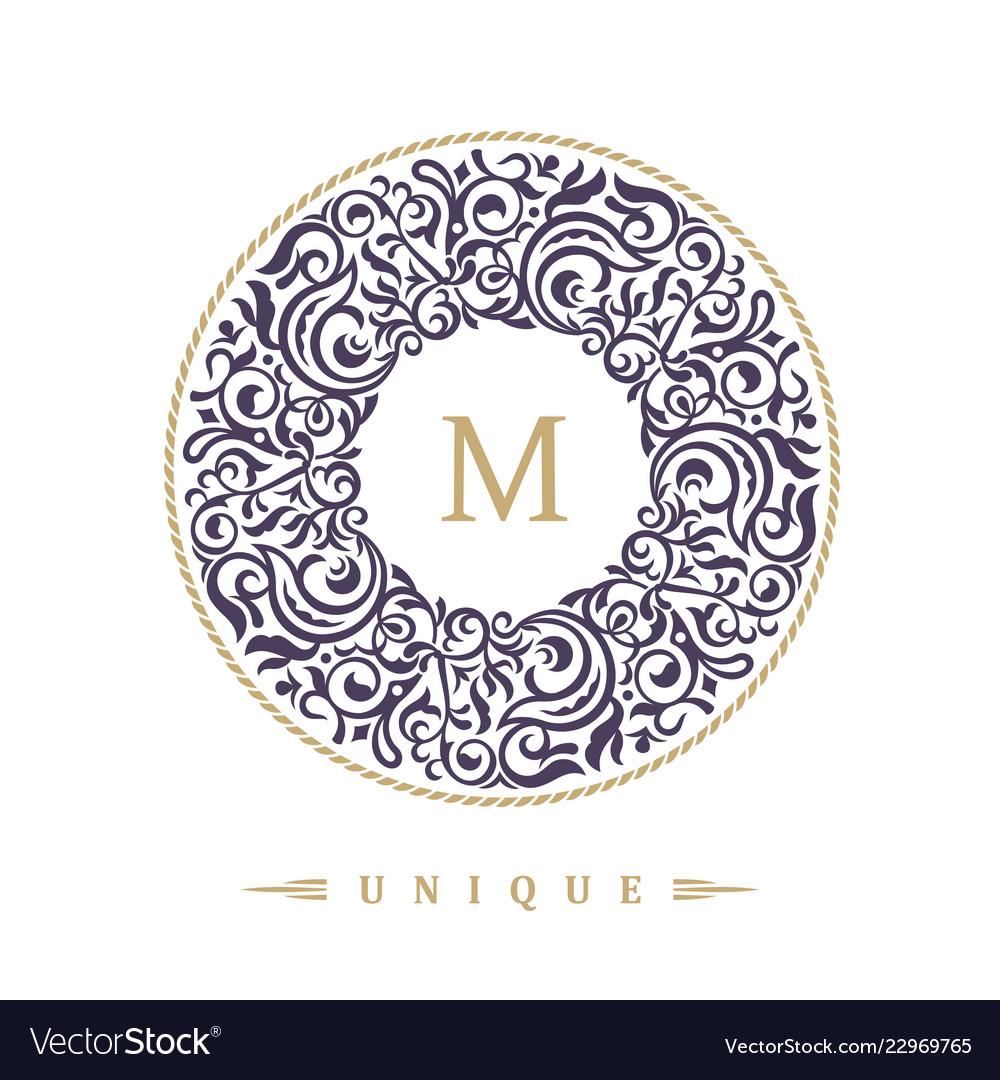 b5344770746f Round calligraphic emblem eastern symbol Vector Image