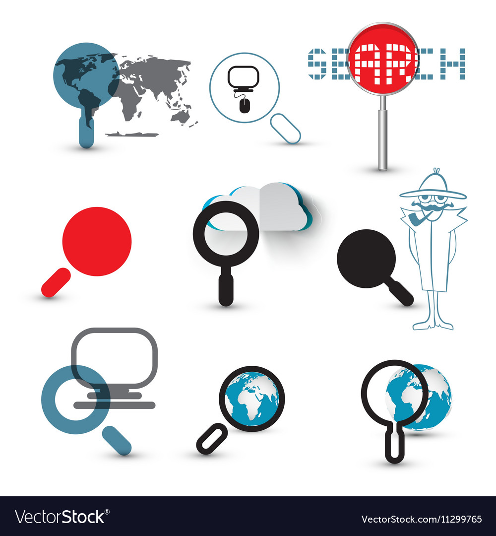 Search Icons Magnifying Glasses Set with World Map