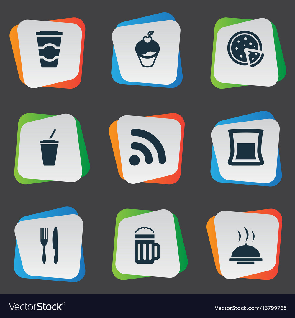 Set of simple cafe icons