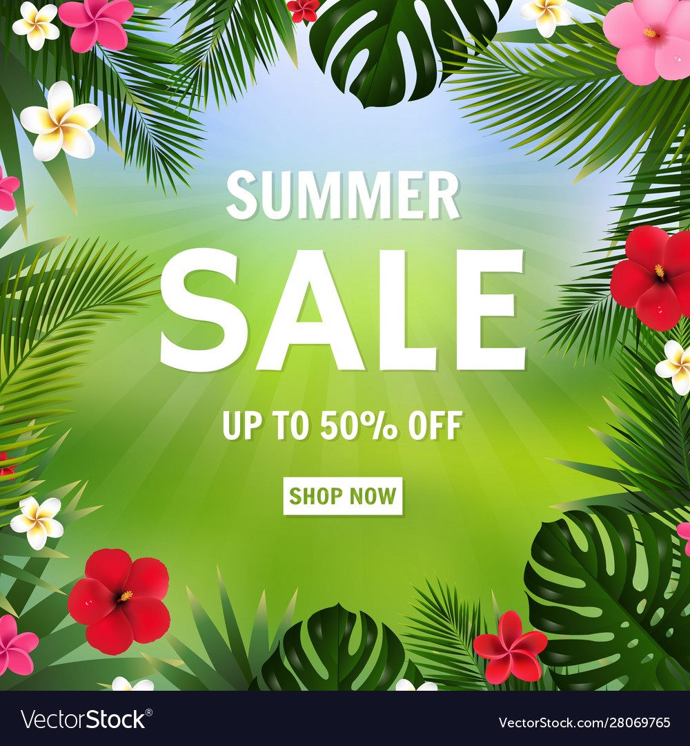 Summer sale poster bokeh and tropical flowers