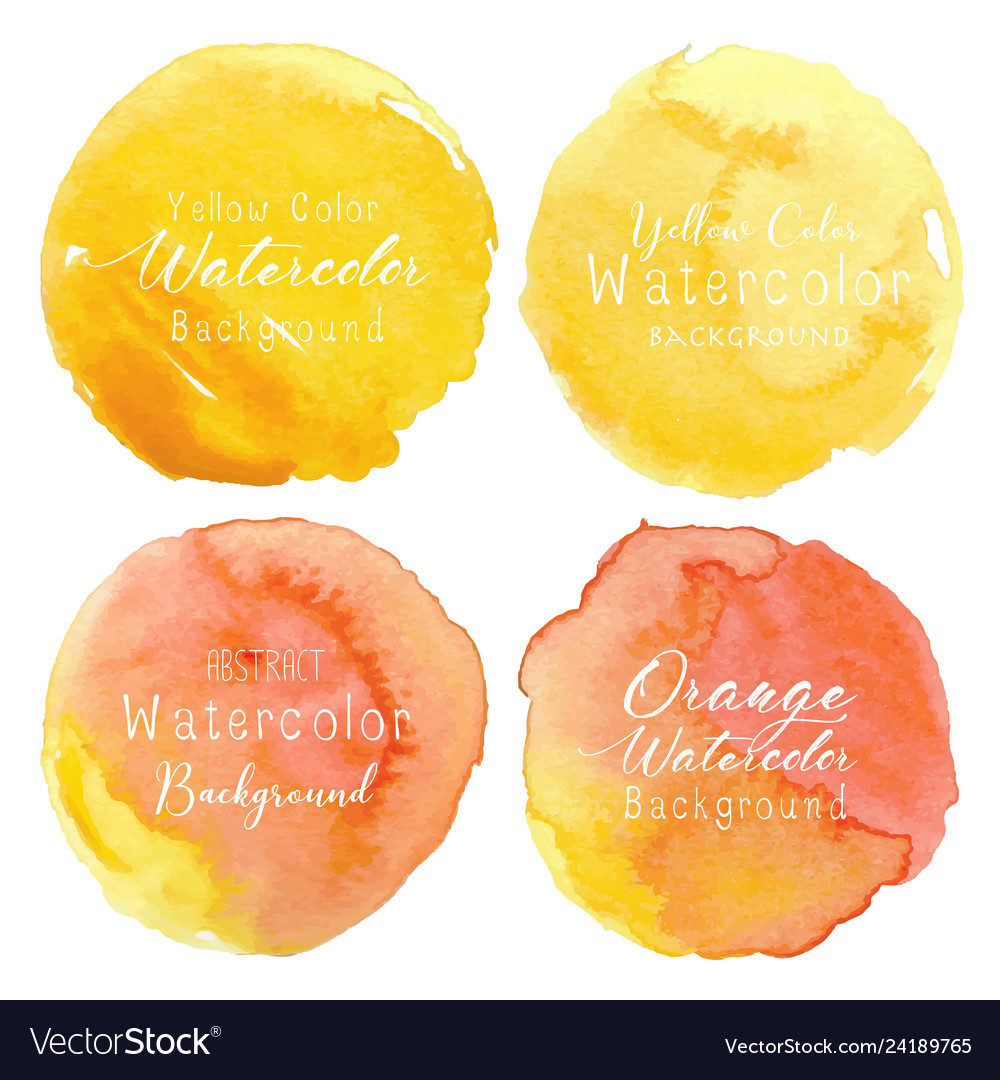Yellow watercolor circle set on white background