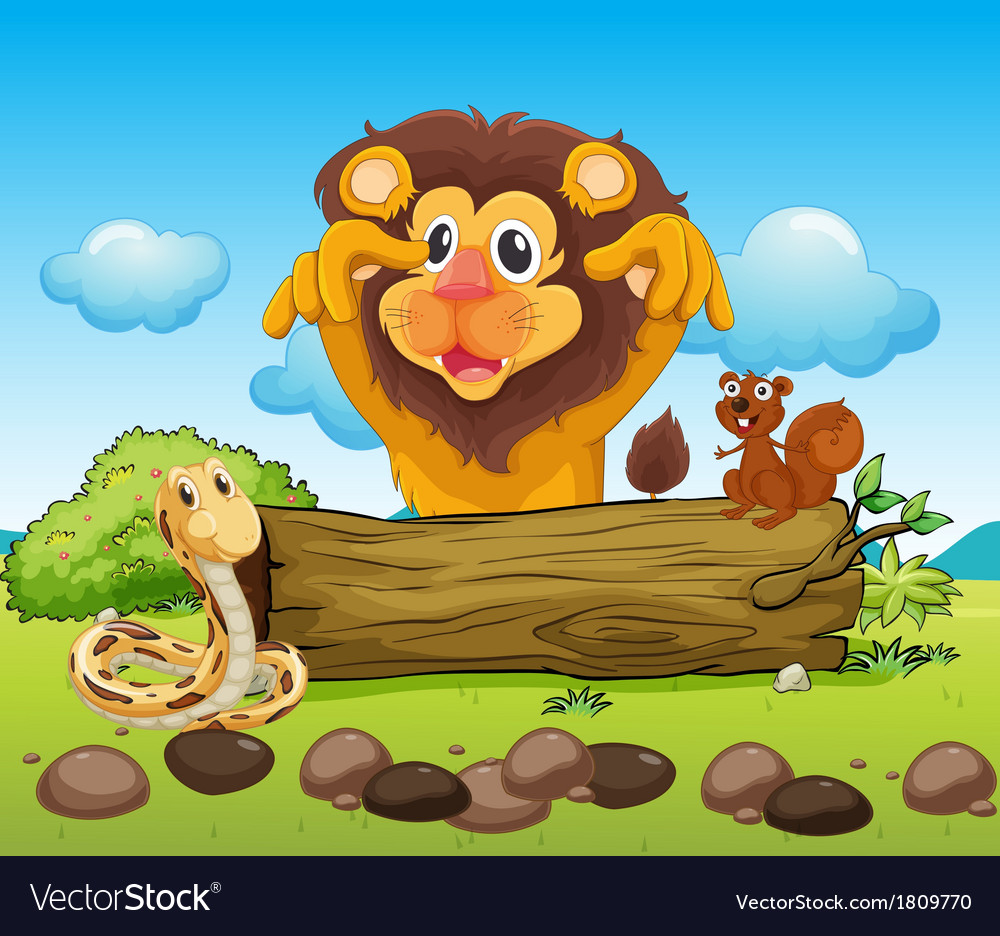 A scary lion a snake and a small squirrel